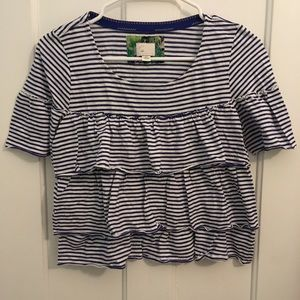 Anthropologie Stripe Ruffle Short Sleeve Top